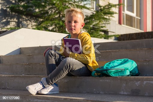 834369132 istock photo Cute schoolboy with books and a backpack 901127090