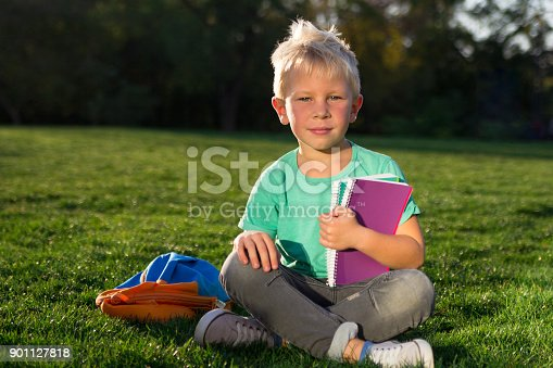 834369132 istock photo Cute schoolboy with books and a backpack 901127818