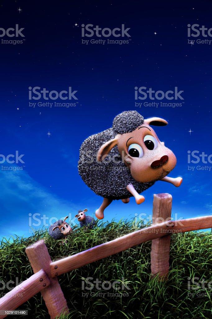 Cute sheep jumping a fence at night stock photo