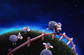 3d Render image of a cute sheep jumping a fence at night/ counting sheep concept