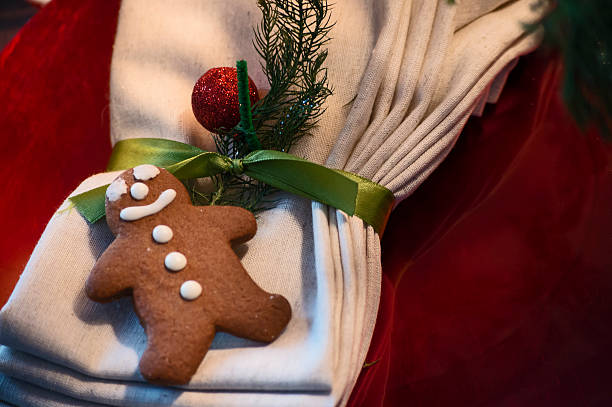 Cute Smiling Gingerbread Man Christmas Cookie Decoration Place S stock photo