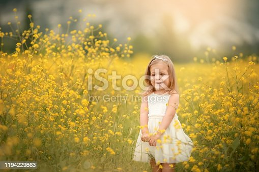 487217358 istock photo Cute smiling little girl with flower wreath on the meadow at the farm. Portrait of adorable small kid outdoors. Midsummer. Earth Day 1194229863