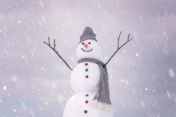 Cute lächelnd Schneemann im Winter Tag, glückliche Ferien Konzept – Foto