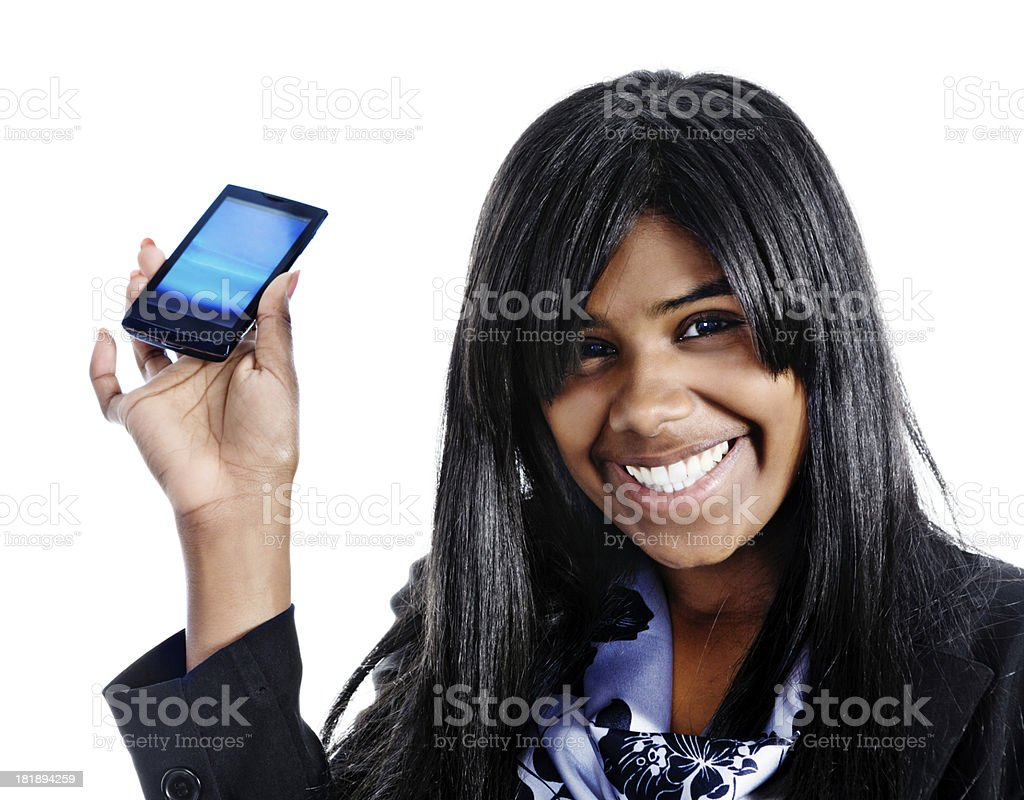 Cute smiling woman shows blank screen of mobile phone royalty-free stock photo