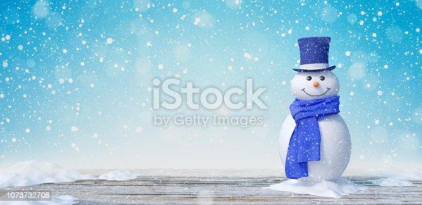 Cute Snowman In Winter Landscape 3d render 3d illustration