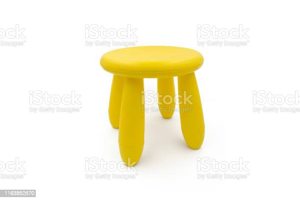 Cute Stool Isolated On White Background Kids Chair Yellow Stock Photo Download Image Now Istock