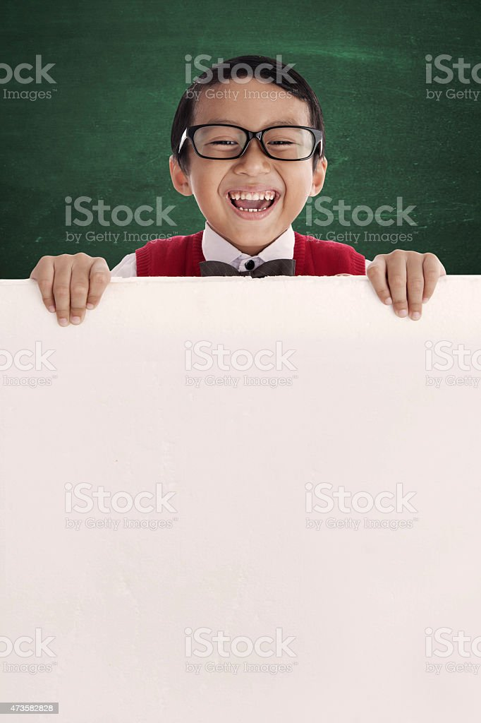 Cute student with copyspace stock photo