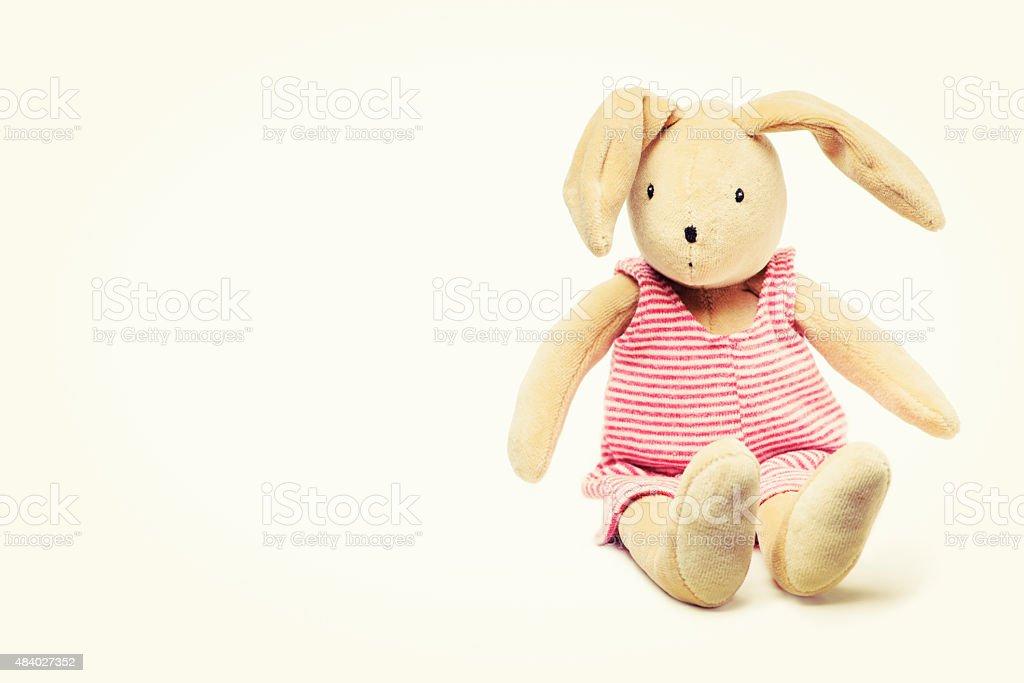 Cute Stuffed Bunny Rabbit Toy Sitting Down royalty-free stock photo