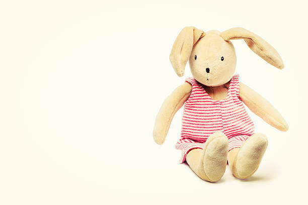 Cute Stuffed Bunny Rabbit Toy Sitting Down stock photo