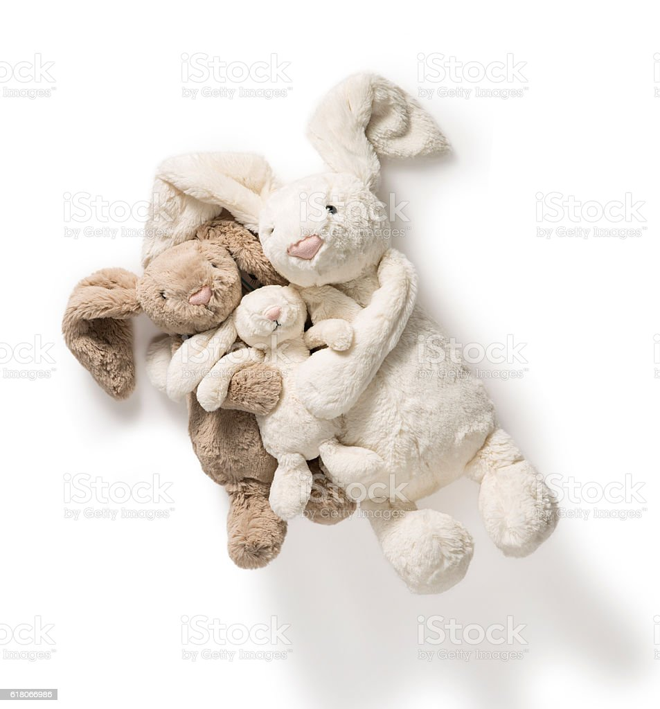 Cute Stuffed Bunny Rabbit Toys stock photo
