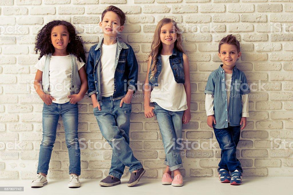 Cute stylish children stock photo