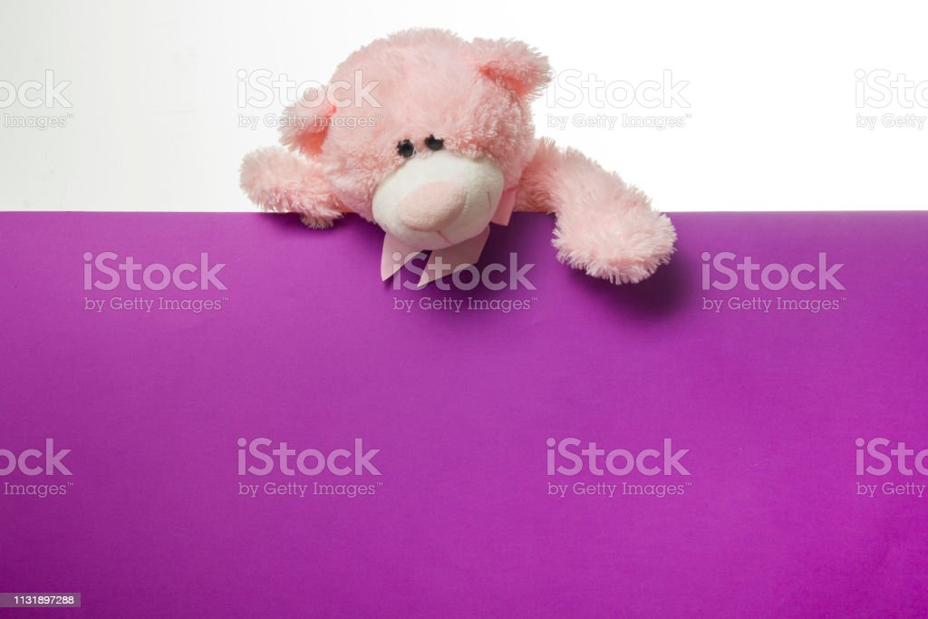 Cute teddy bear pink on old wood background with copy space