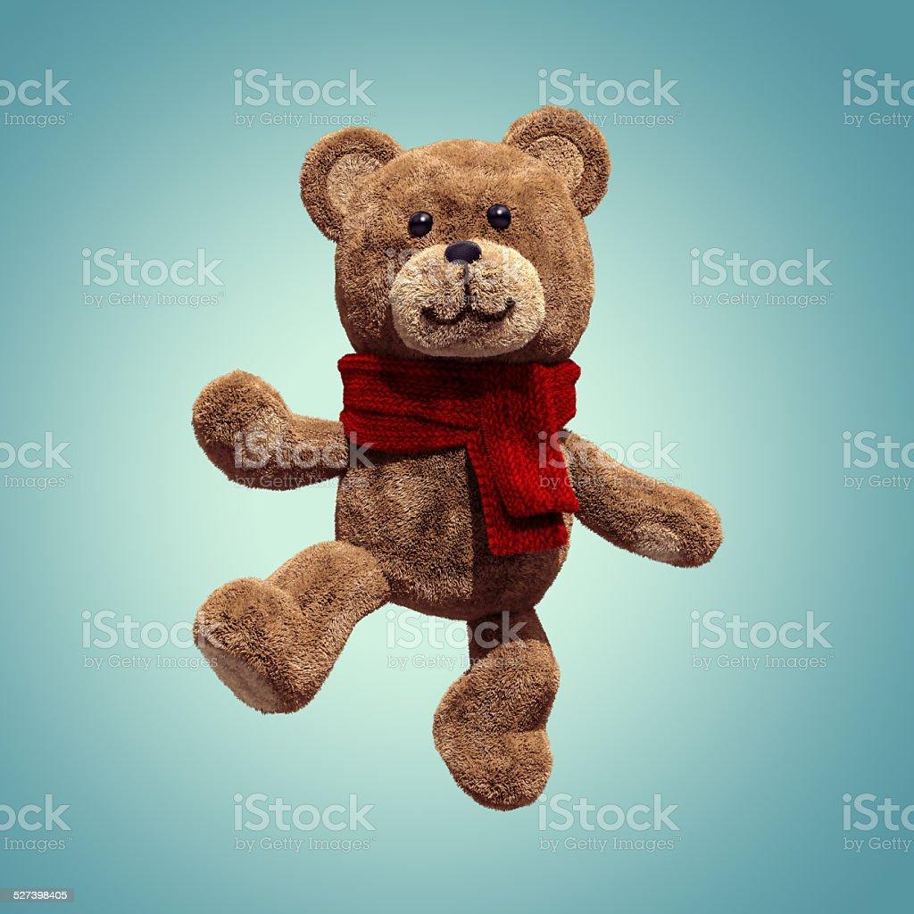 cute teddy bear toy dancing, 3d cartoon character stock photo