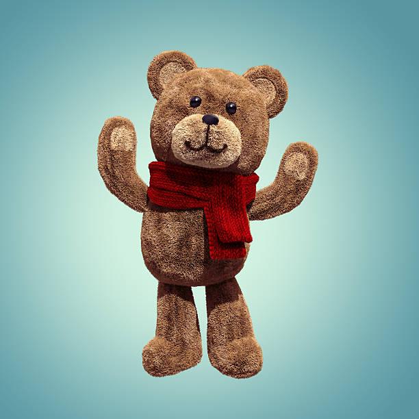 adorable ours en peluche jouet debout, les bras, personnage de dessin animé 3d - mascotte photos et images de collection