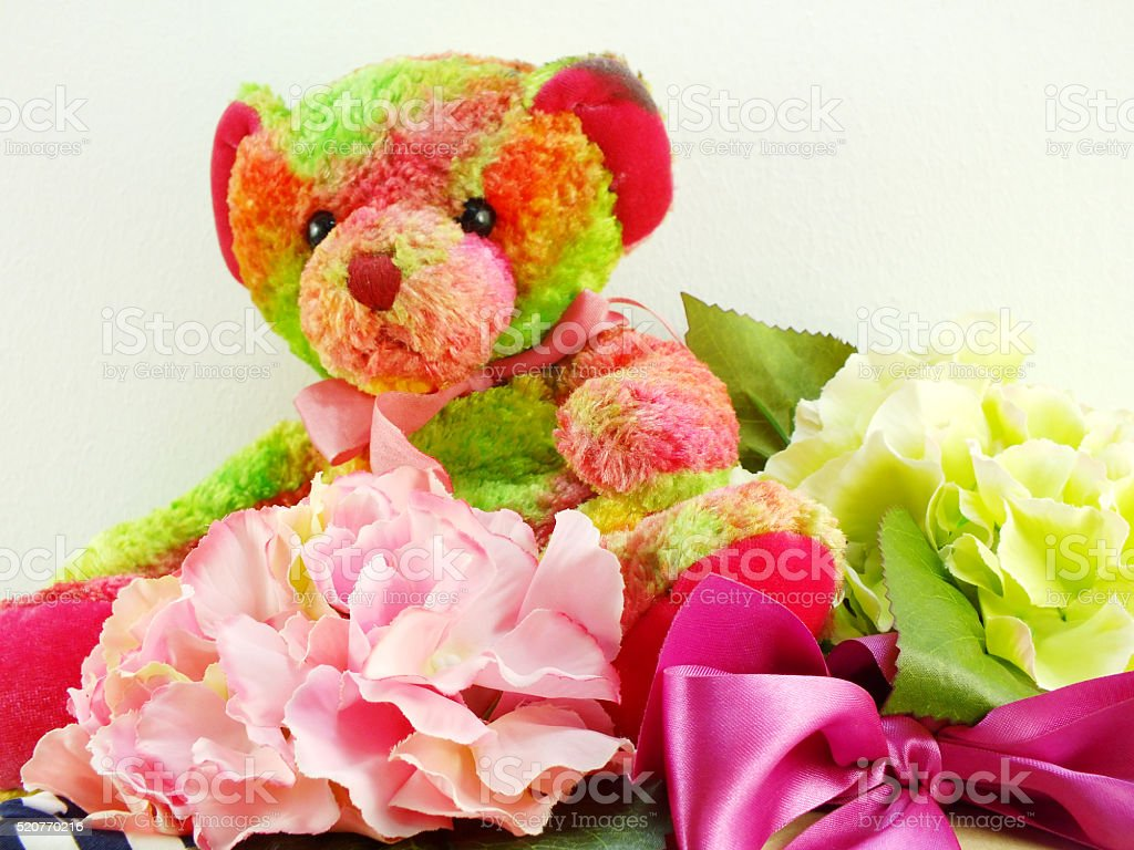 Cute Teddy Bear With Gift And Beautiful Bouquet Flower Stock Photo