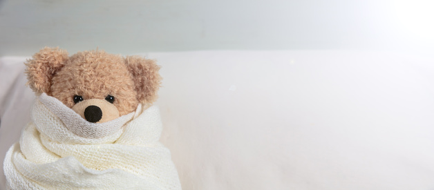 cKid in bed in a cold day. Cute teddy covered with a warm blanket, resting in bed, banner, copy space