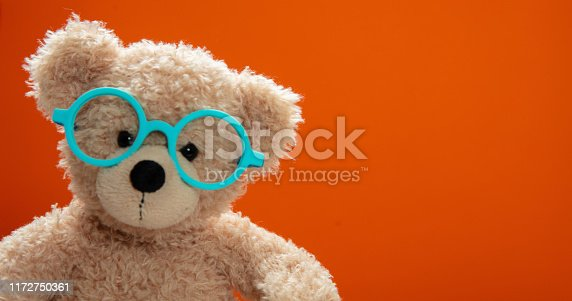 Back to school, eyesight test. Smart kid, cute teddy wearing blue eyeglasses against orange color background, copy space.