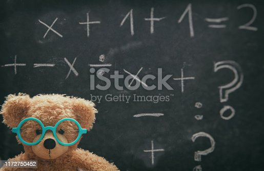 909927050 istock photo Cute teddy wearing glasses and black chalkboard with mathematics 1172750452