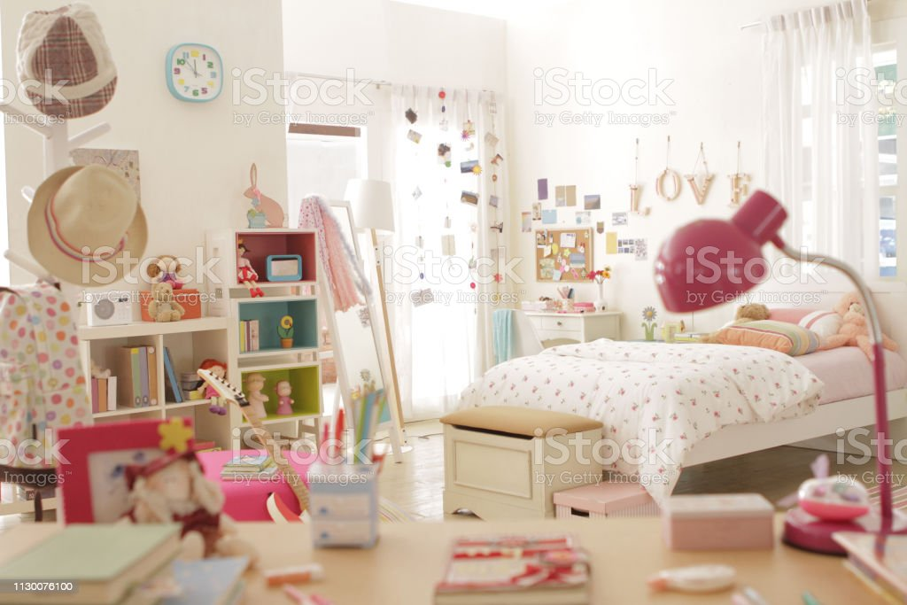 Cute Teen Girl Bedroom With Decoration 1 Stock Photo Download Image Now Istock
