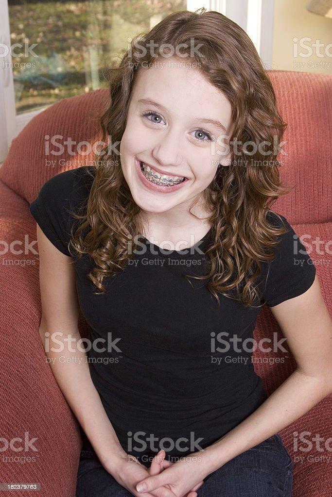 Cute teen in black t-shirt royalty-free stock photo