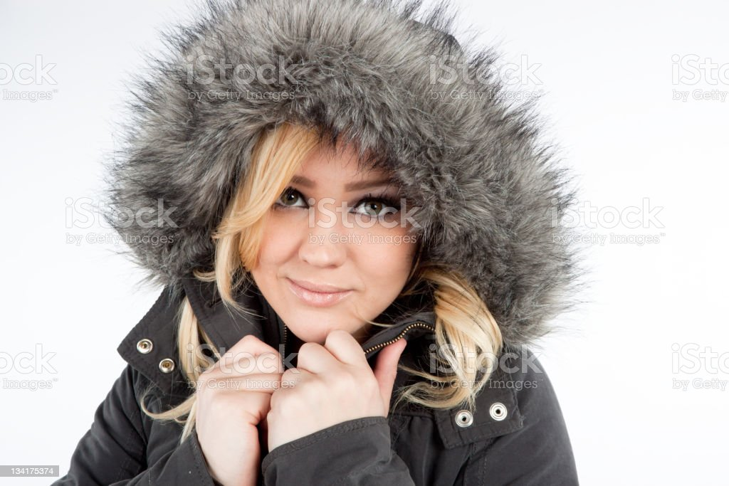 Cute teen in parka royalty-free stock photo