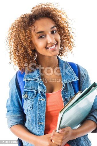 istock Cute teenage girl dressed and ready for school 510398047