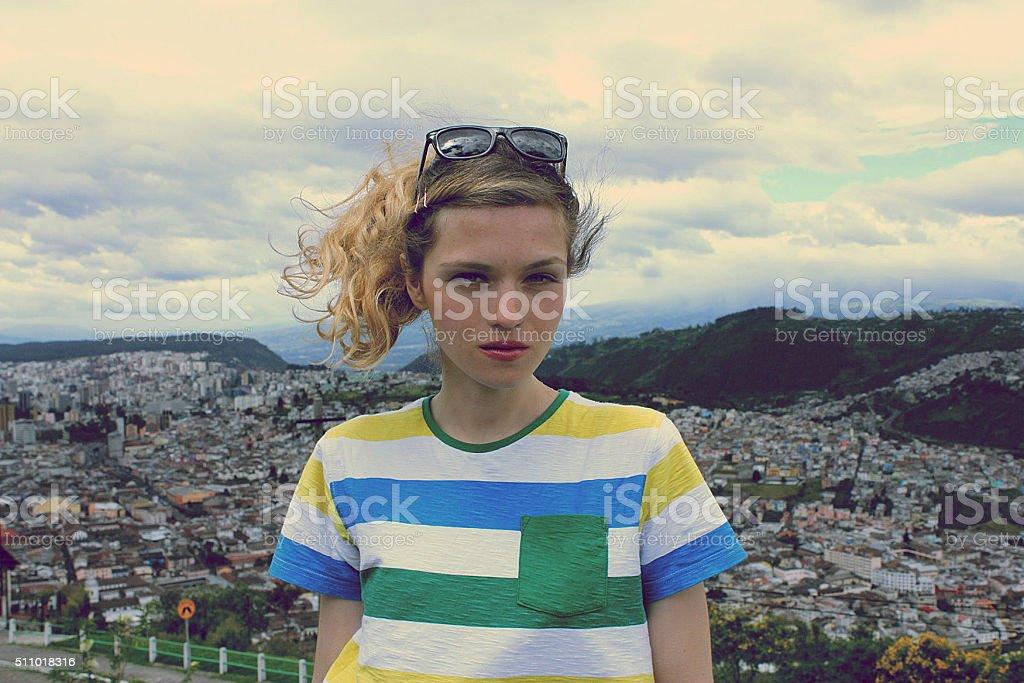 Cute teenage girl enjoy city view, Quito Ecuador stock photo