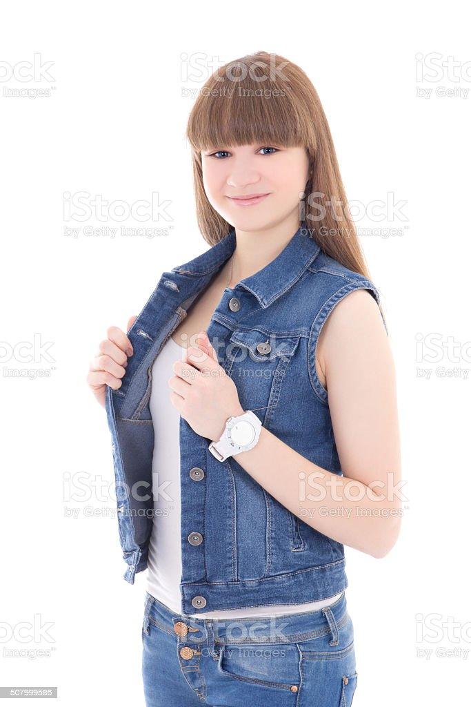 3b7473397a Lindo adolescentes chica en pantalones vaqueros Chaleco aislado sobre  blanco foto de stock libre de derechos