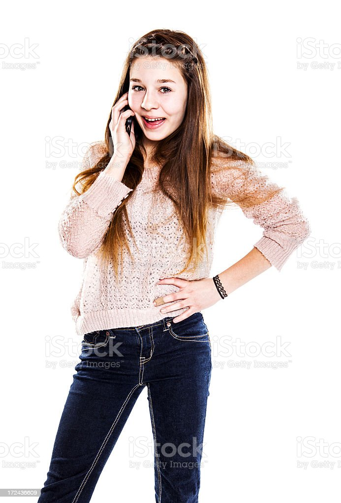 Cute Teenage Girl on Cell Phone royalty-free stock photo