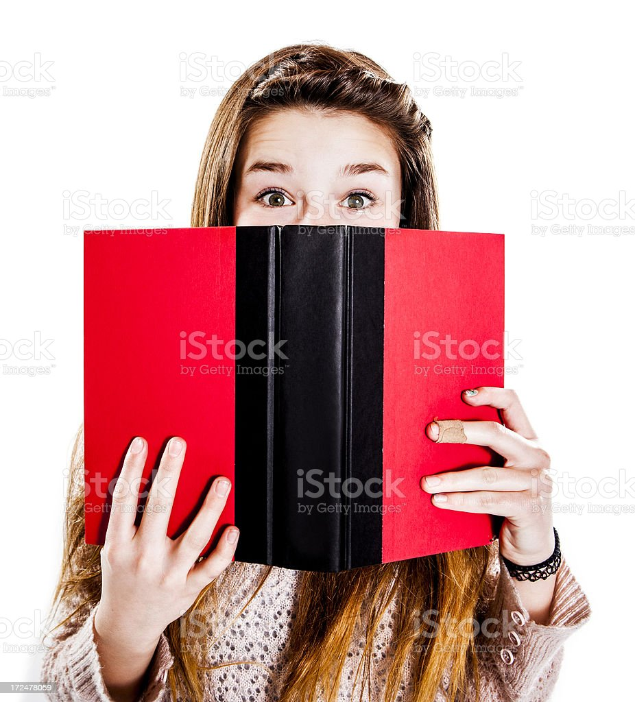 Cute Teenage Girl Reading a Book royalty-free stock photo