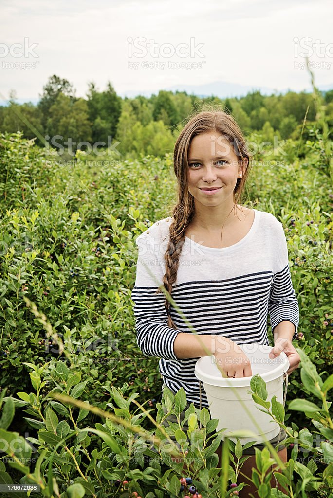 Cute teenager picking up blueberries in summer. royalty-free stock photo