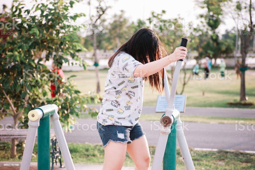 Cute Thai Girl Doing Exercise zbiór zdjęć royalty-free