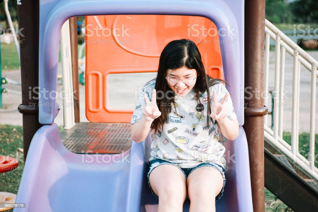 Cute Thai Girl Doing Exercise royalty-free stock photo