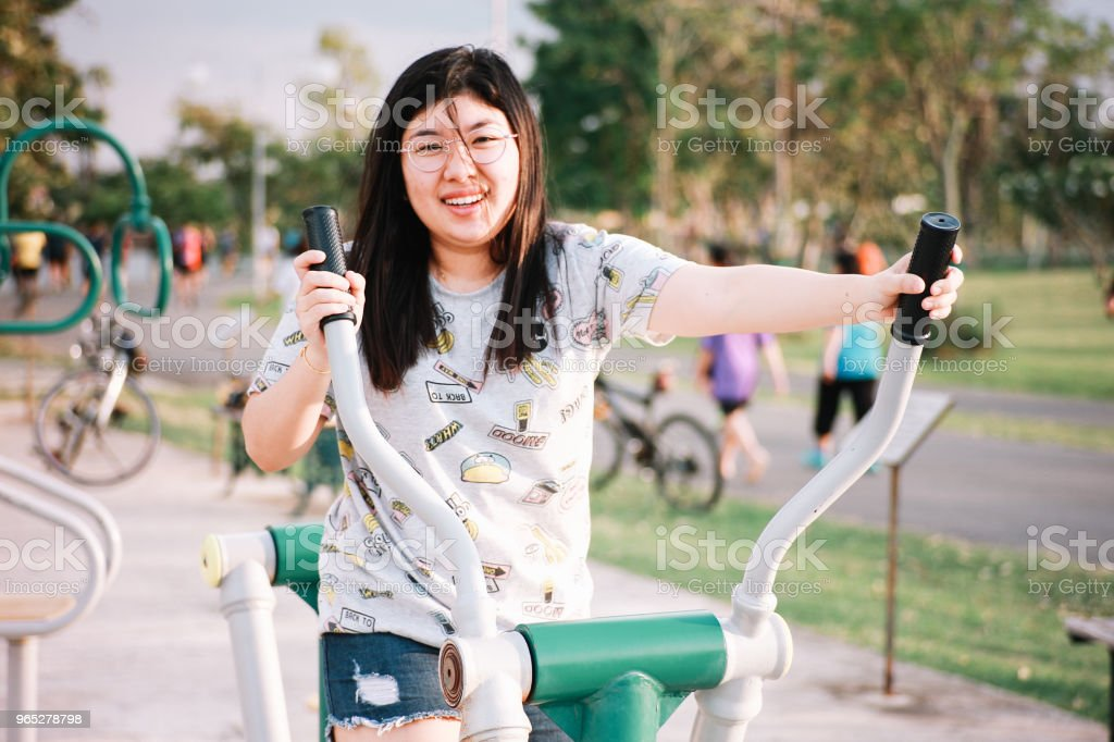 Cute Thai Girl Doing Exercise royalty-free stock photo