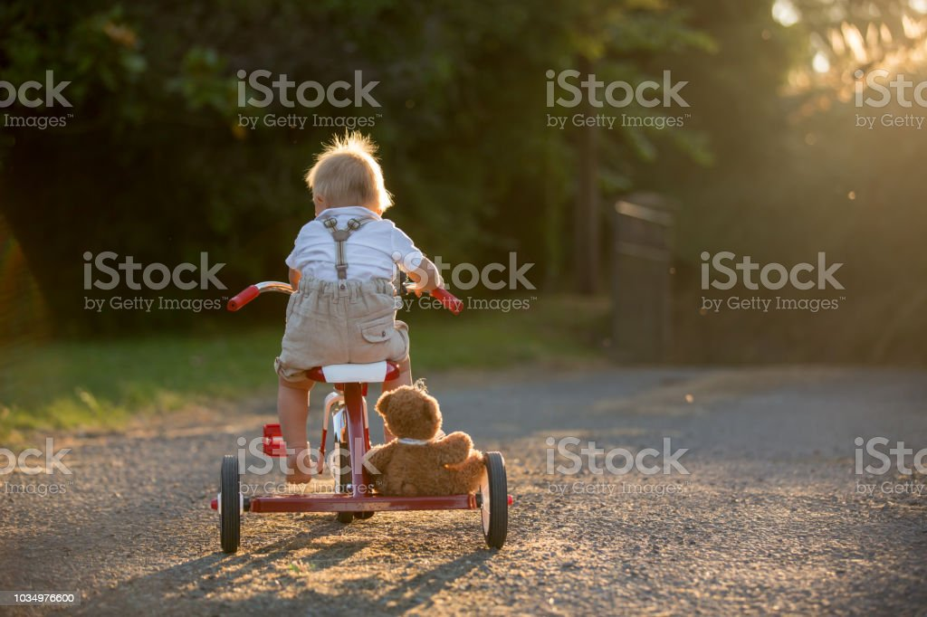 Cute toddler child, boy, playing with tricycle in backyard on sunset stock photo