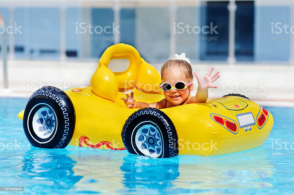 cute toddler girl have a fun in pool outdoor royalty-free stock photo