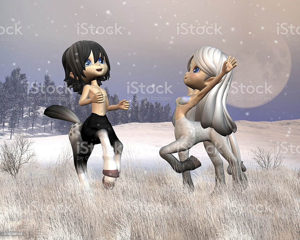Cute Toon Centaurs playing in the snow stock photo
