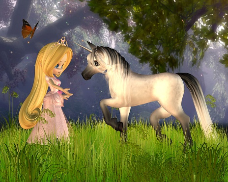 Cute Toon Fairytale Princess And Unicorn Stock Photo - Download Image Now
