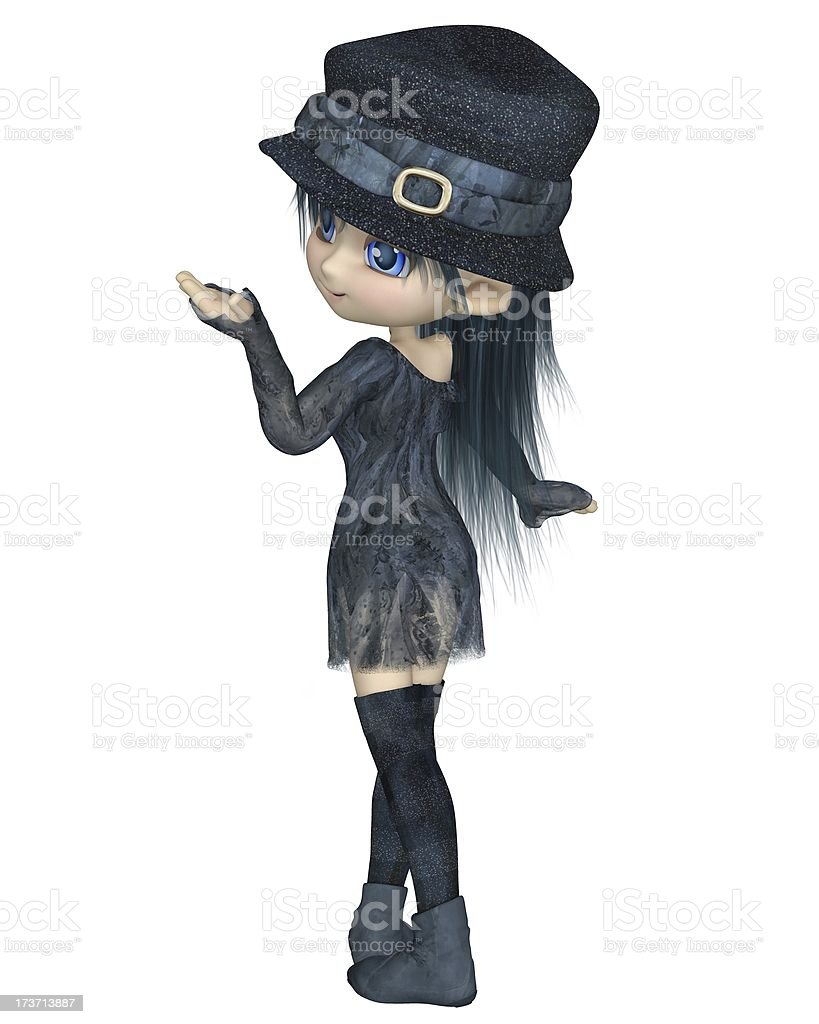 Cute Toon Girl with a Blue Hat - Turning royalty-free stock photo