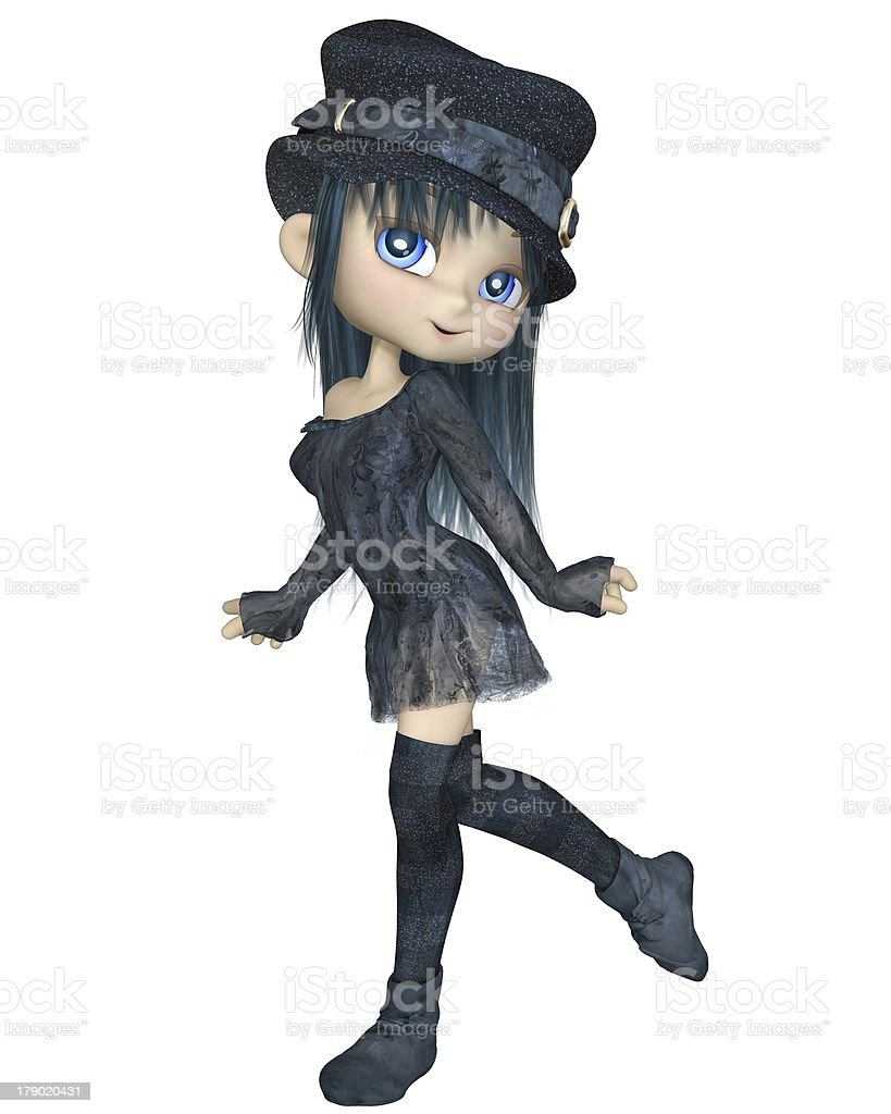 Cute Toon Girl with a Blue Hat - Walking royalty-free stock photo