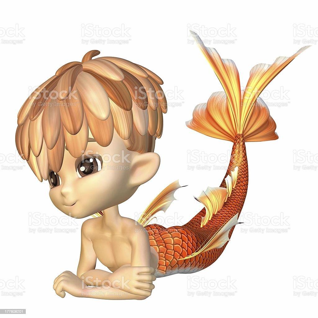 Cute Toon Goldfish Merman stock photo