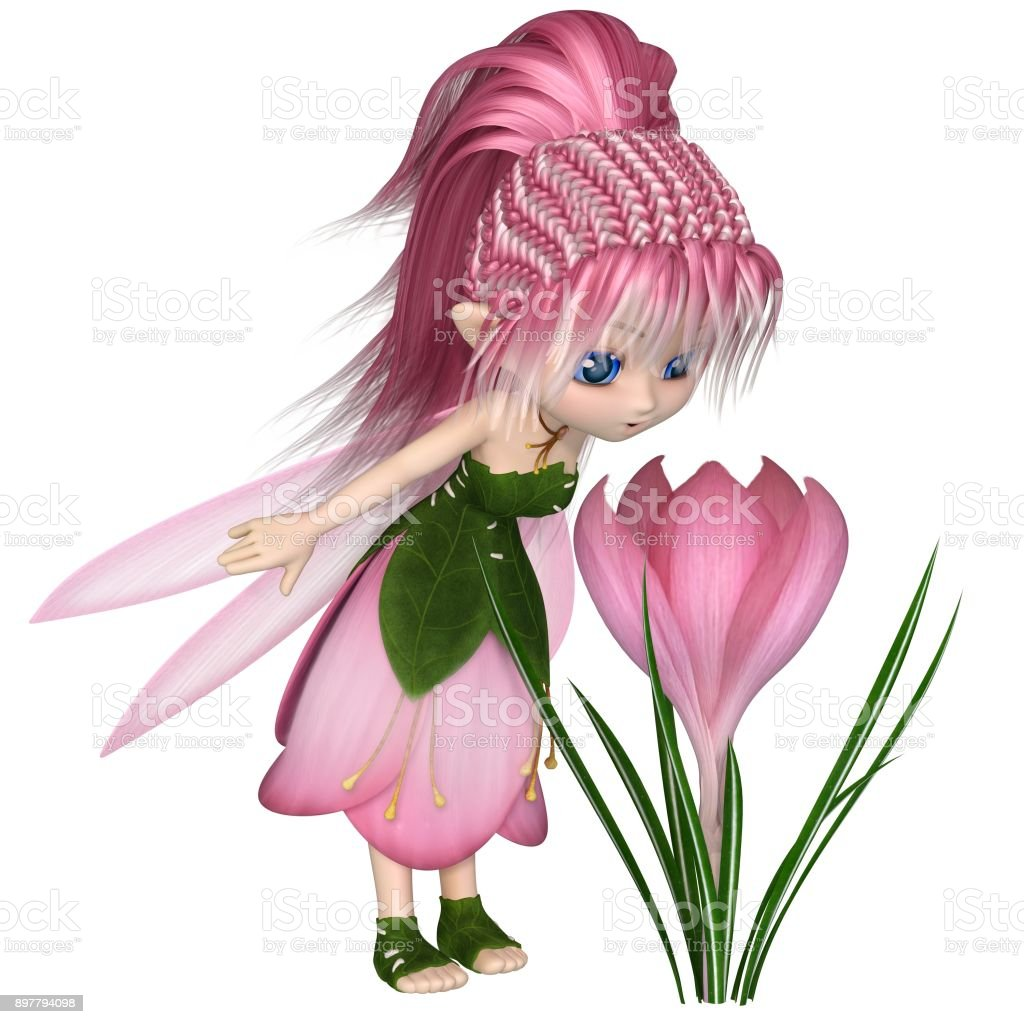 Cute Toon Pink Crocus Fairy, Standing by a Flower stock photo