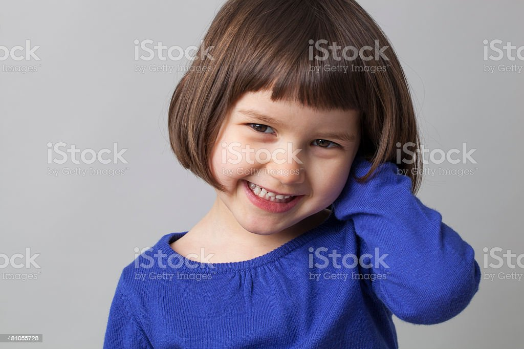cute toothy smile at 4 years old stock photo
