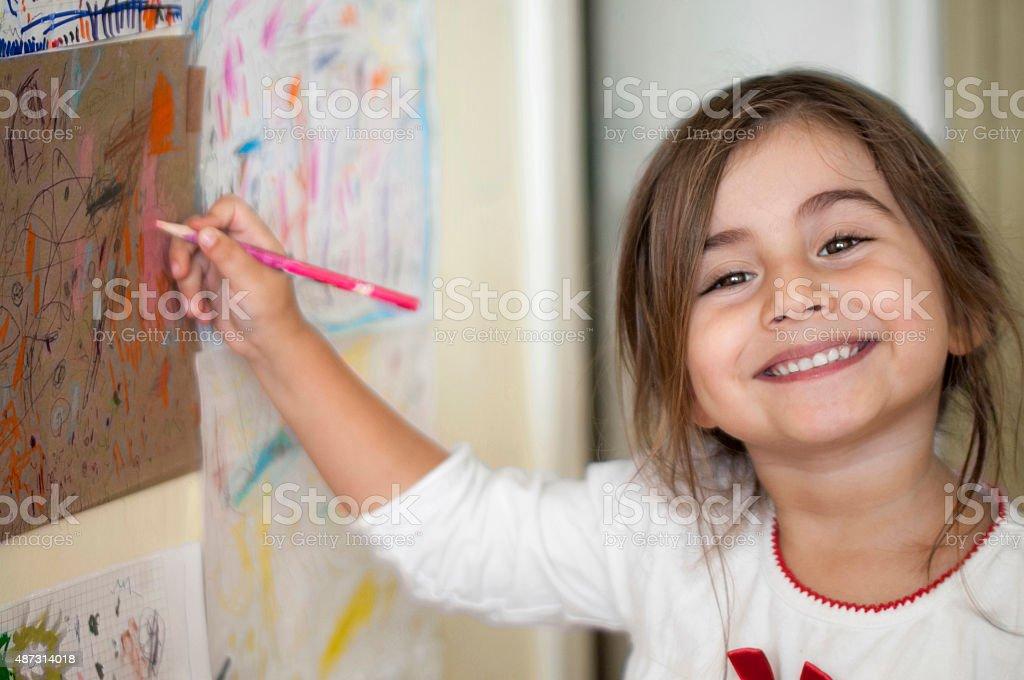 Süße türkischen Mädchen Zeichnung Lizenzfreies stock-foto
