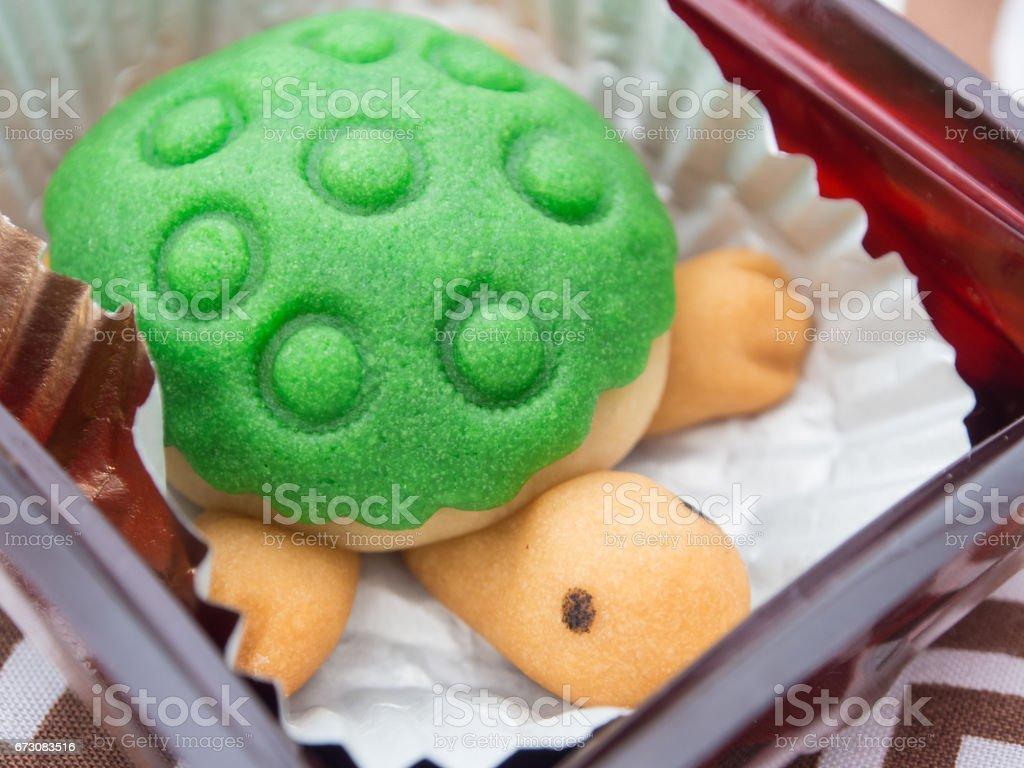Cute Turtle Shaped Cake stock photo
