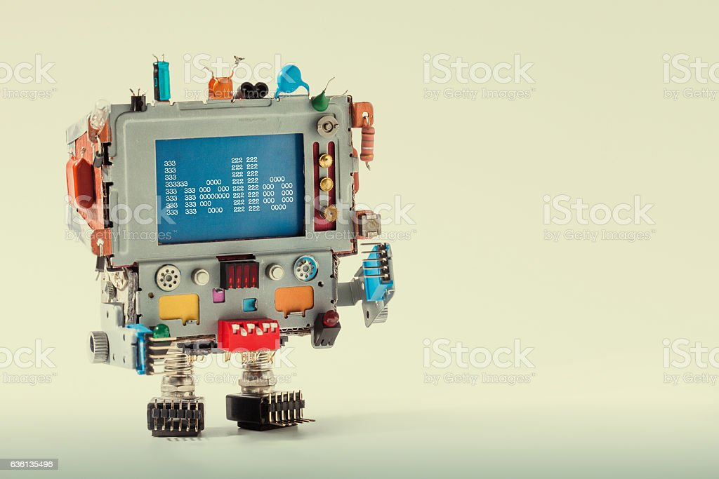 Cute TV robot with funny monitor computer head, electronic parts – Foto