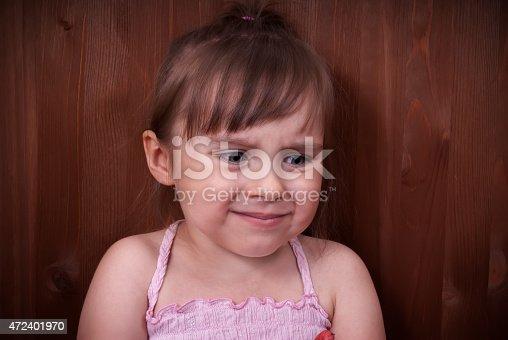 istock Cute upset little girl 472401970