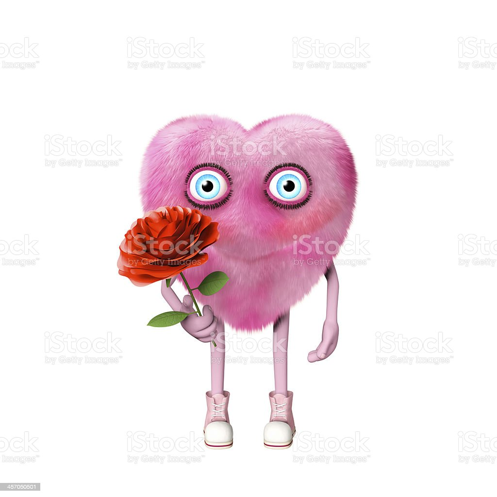 Cute Valentine character holding a rose royalty-free stock photo