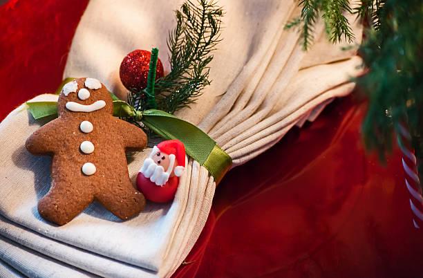 Cute Vintage Gingerbread Man and Santa Christmas Decoration stock photo