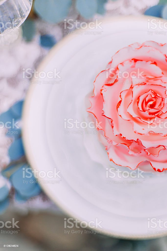 Cute wedding cake stylized as flower close up. Wedding day stock photo